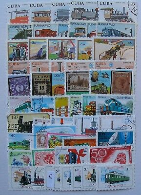 Trains thematics lot 50 different stamps,used cancelled to order as in scan.LotC