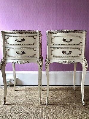 A pair of Antique French Chateau Shabby chic Cream Bedside Table Draw