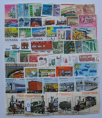 Trains thematics lot 50 different stamps,used cancelled to order as in scan.LotD