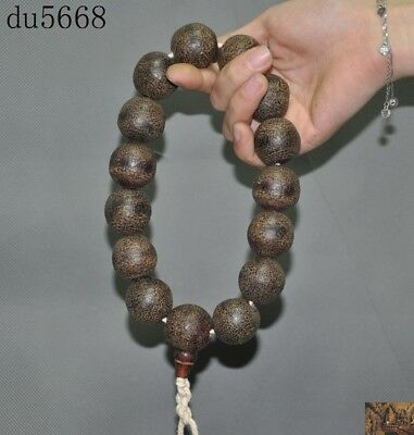 Rare China Buddhism Old Ox horn carved prayer Fozhu Prayer beads Amulet necklace