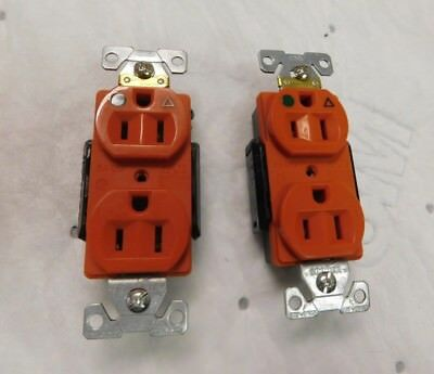 Cooper Arrowhart Isolated Ground Duplex Receptacle 125 VAC Lot of 2 IG8200RN