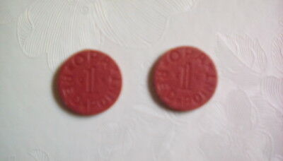 (2)  OPA RED Point Token War Ration WW2 Vintage Old Coins