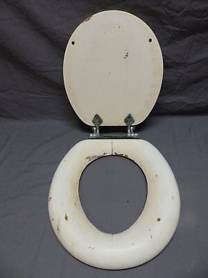 Antique  Toilet Seat Cover With Lid Nickel Brass Hardware 16x15 Vtg 680-18P