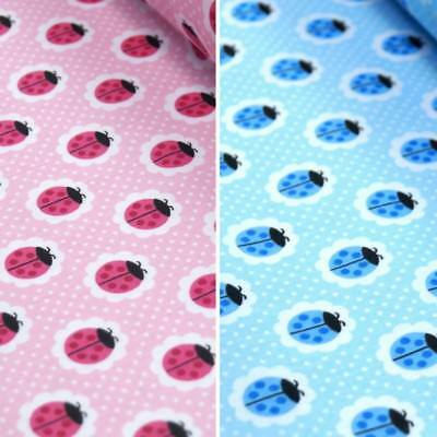 Polycotton Fabric Colourful Ladybirds On Flower Heads Spotty