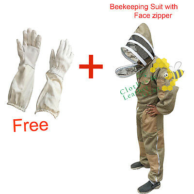 3 Layer beekeeping protective full suit ventilated jacket Fencing Veil Khaki