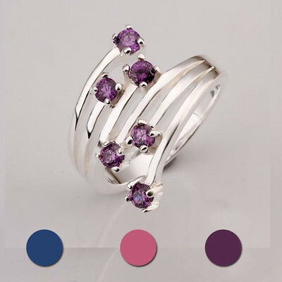 New Charm Jewelry Women  Crystal Gold-plated Band Ring Blue Gemstone Size 7-8