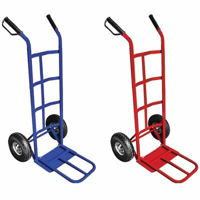 Hand Sack Truck Heavy Duty Trolley Industrial Pneumatic Tyres Blue Red
