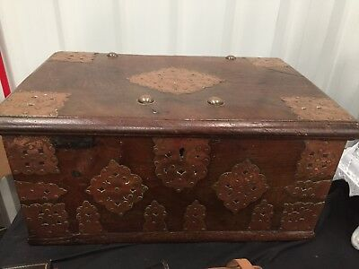 Antique Oak  Silver Chest Bounded With Copper