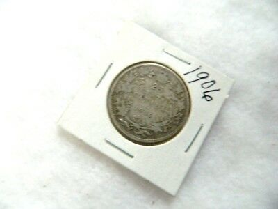 High Grade 1906 Canadian Silver Quarter Twenty Five Cent Coin