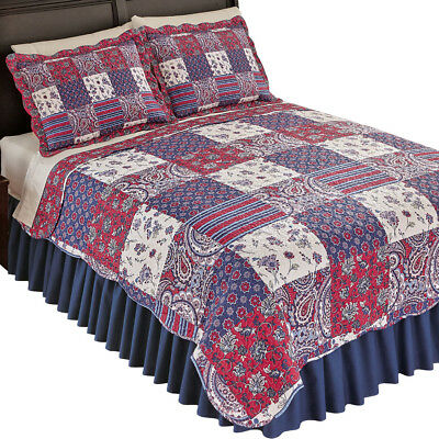 Windsor Floral Paisley Patchwork Quilt with Reversible Floral Pattern