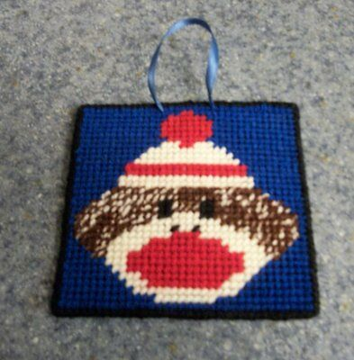 Brand New Needlepoint Sock Monkey Wall Hanging Sign  For Dog Rescue Charity