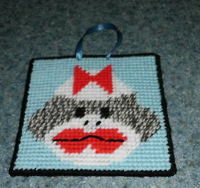Brand New Needlepoint Girl Sock Monkey Wall Hanging Sign For Dog Rescue Charity