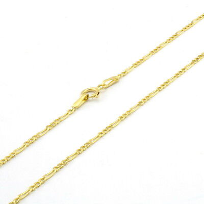"""10K Solid Yellow Gold 1mm Thin Figaro Chain Link Pendant Necklace Women 16""""- 24"""""""
