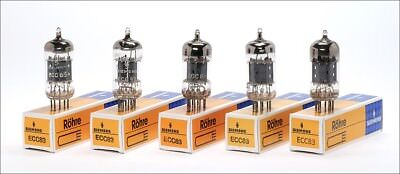 5x ECC83 Siemens 12AX7 O halo getter with double support german audio tube