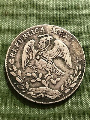 1872 - 1877 Key Counterstamp Revolutionary On Mexico 8 Reales Silver Coin