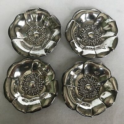 Lot of 4 Sterling Silver 37 Nut Dishes Lunt Flower Flowers Vintage 59.6 Grams