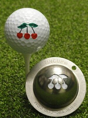 1 only TIN CUP GOLF BALL MARKER - JACKPOT ( 3 CHERRIES )  & yours for life