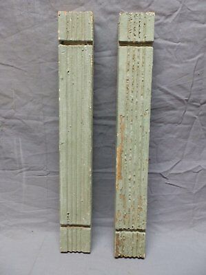 Pair Vtg Architectural Beaded Porch Flat Baluster Green Shabby Old Chic 687-17P