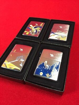 Camel Euro Zippo Lighter Set Of Four Motion Vibe Pulse Freedom Cz#698-701