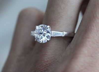 1 65 Carat Round Brilliant Cut Diamond 14k Baguette Engagement Ring H Si1 7 498 00 Picclick