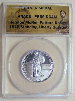 ANACS PR69 CAM Hermon McNeil Pattern Design SILVER 1916 Standing Liberty Quarter