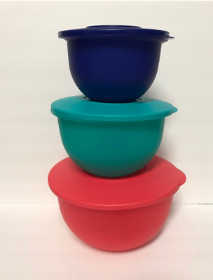 Tupperware Impressions Mixing Bowls 3 pc Set Red, Navy Blue, Teal Green New