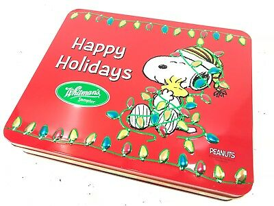 Snoopy Peanuts Christmas Whitman/'s Tin the Peanuts Gang Lights New Red