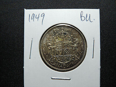 1949 50 Cent Coin Canada King George VI Fifty Cents .800 Silver BU Condition