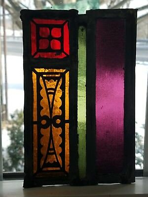 GOTHIC FIRED LEADED STAINED GLASS SUNCATCHER, NJ CHURCH from early 1900s