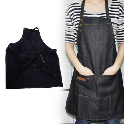 Black Denim Bib Apron Adjustable Neck Strap & Pocket Kitchen Barista Chefs Cook