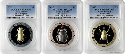 2017 $5 Cook Islands Scarab Selection 1 3-Coin Silver Proof Set PCGS PR70DCAM FD