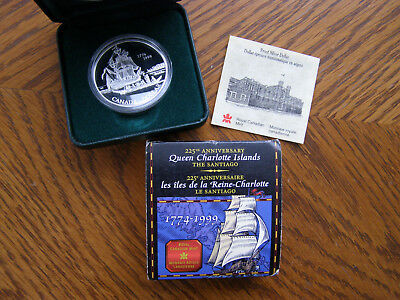 1999 Canada Sterling Silver Coin-225Th Ann. Queen Charlotte Islands The Santiago