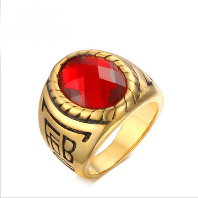 Amazing Fashion Size 9-12 Red Ruby Titanium Steel Wedding Rings For Men Gift