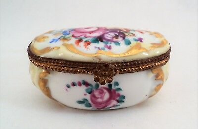 Vintage LIMOGES FRANCE Trinket Box Decor Main Handpainted Signed Roses - Estate