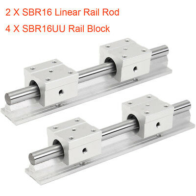 16MM Linear Rail Rod SBR16 200-1000mm + 4pc SBR16UU Rail Block Fully Supported