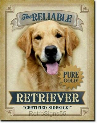 Reliable Retriever Golden Dog Picture Poster Metal Ad Sign Animal Lover Kennel