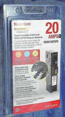 HomeLine HOM120PDFC DUAL FUNCTION: CAFI AND GFCI W/ PLUG ON NEUTRAL 20 AMP NEW