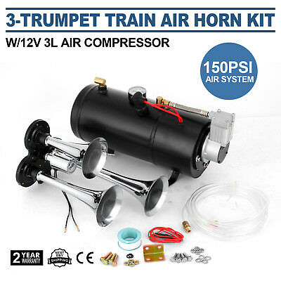 3-Trumpet compressor rain Air Horn Kit With 150PSI Top Motor Air System