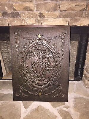 Antique Vintage Cast Iron Embossed Fireplace Fireback Fire Screen