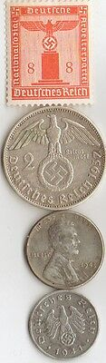 - 4-antique *WW2 -SILVER, STEEL  and  ZINK - *us   and - *german coins/stamp++