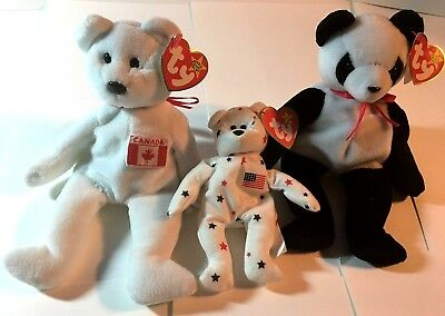 Ty Beanie Baby 90's Lot Of 3 Bear Maple Glory Fortune Canada Usa