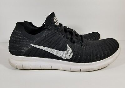 ee677c508a6f1 New Nike Free Rn Flyknit Men s Running Training Shoes Black White Size 13