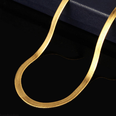 Fashion Men Women 18K Gold Plated Snake Chain Choker Necklace Jewelry 20-24Inch
