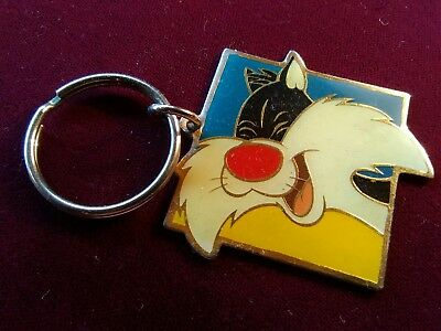 """Vintage WARNER BROS Sylvester the Cat Keychain 1.5""""x1.5"""" 1993 Gift Creations"""