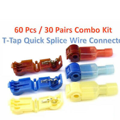 60pcs Insulated 22-18 AWG T-Taps Quick Splice Wire Terminal Connectors Assorted