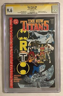 The New Titans #60 Cgc Ss 9.6 Nm+! Signed By George Perez! White Pages!