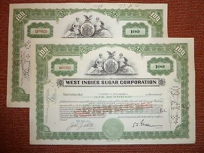 2 x West Indies Sugar Corp., Delaware, 1957, 1958, 100  Shares,  ZUCKER