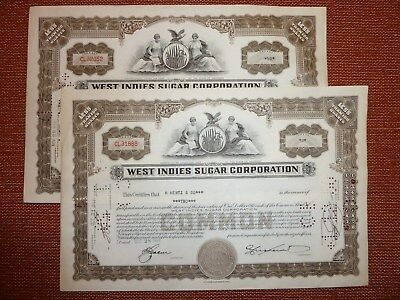 2 x West Indies Sugar Corp., Delaware, 1949, div. Shares,  ZUCKER