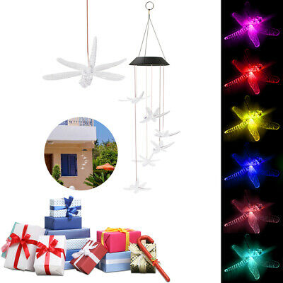 Outdoor Color-Changing LED Hummingbird Solar Wind Chimes Yard Home Garden Decor