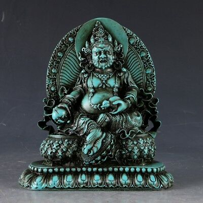 100% Natural Turquoise Hand Carved The God of wealth Statue  LSS011